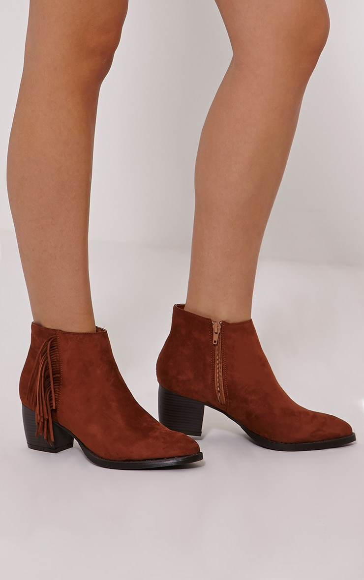 Cairo Tan Faux Suede Tassel Ankle Boots 1
