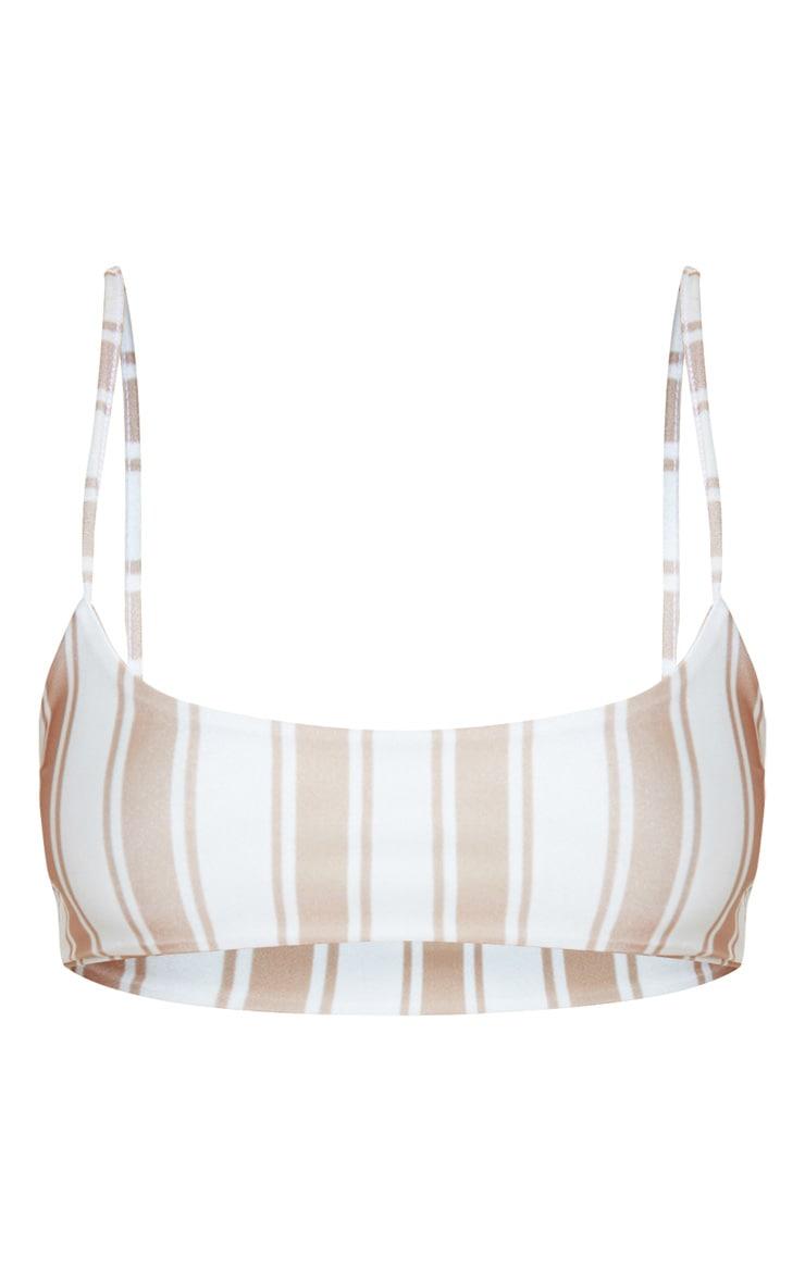 Tan Stripe Scoop Neck Bikini Top 3