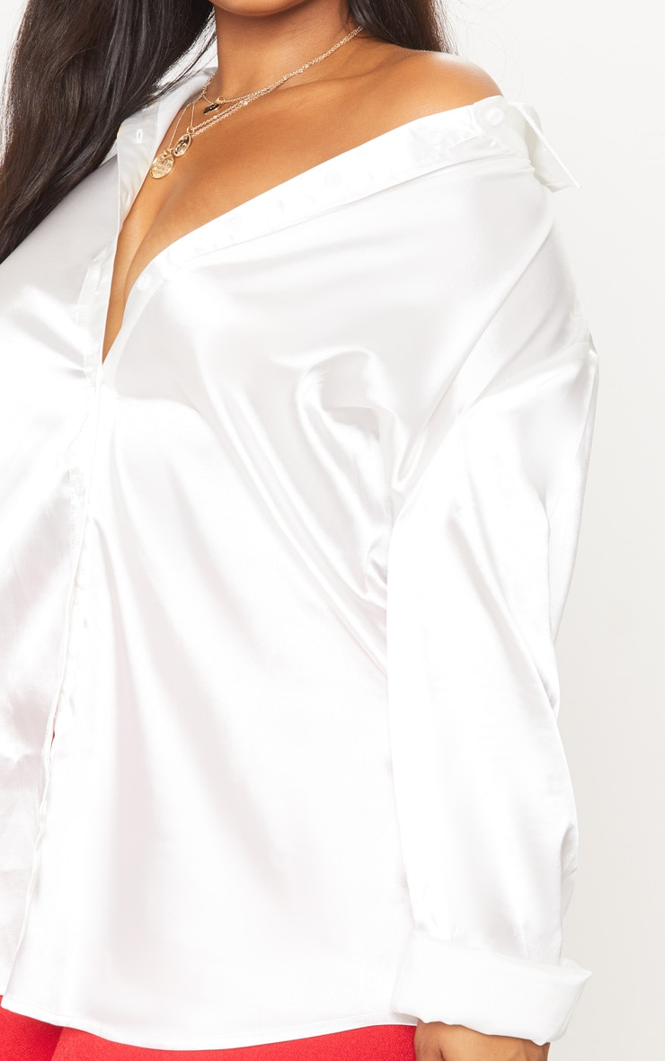Plus White Satin Button Front Shirt 5