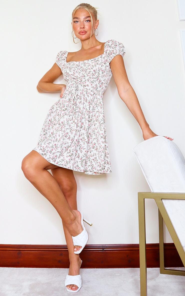 Beige Ditsy Floral Corset Detail Tea Dress image 3