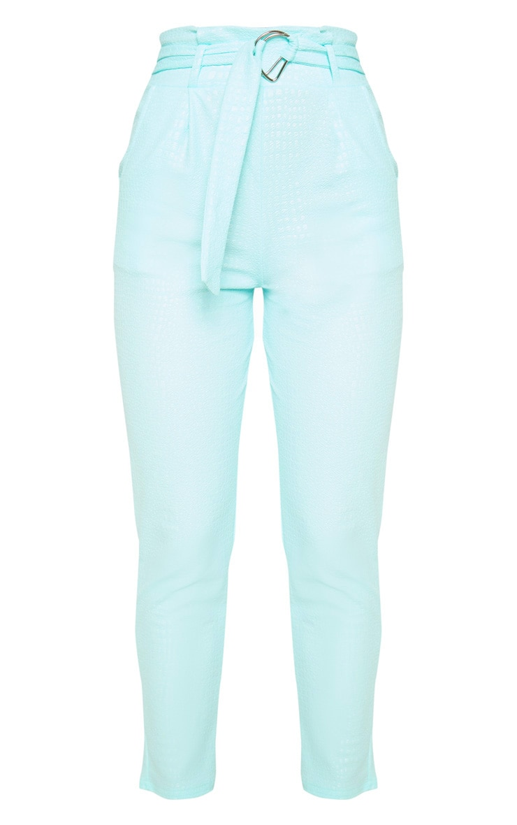 Mint Croc Print D Ring Belted Skinny Trousers 3