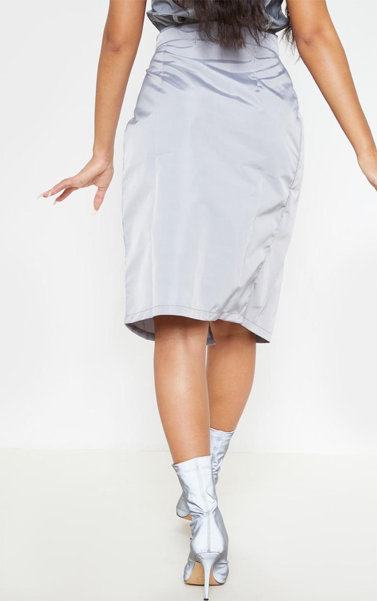 Grey Wrap Over Shell Midi Skirt 4