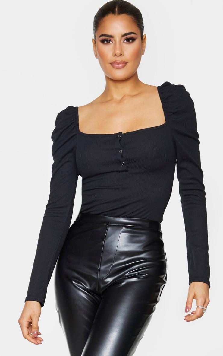 Tall Black Rib Puff Long Sleeve Bodysuit 1