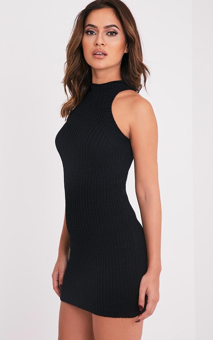 Nadalae robe mini noire tricotée col montant sans manches 4