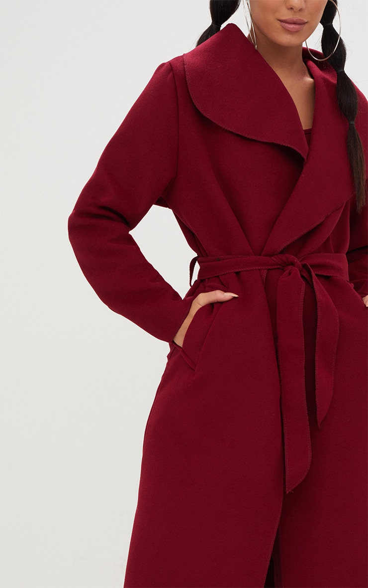 Burgundy Oversized Waterfall Belted Coat 5