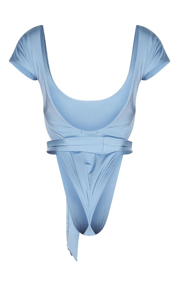 Shape Dusty Blue Extreme High Leg Tie Waist Swimsuit 4