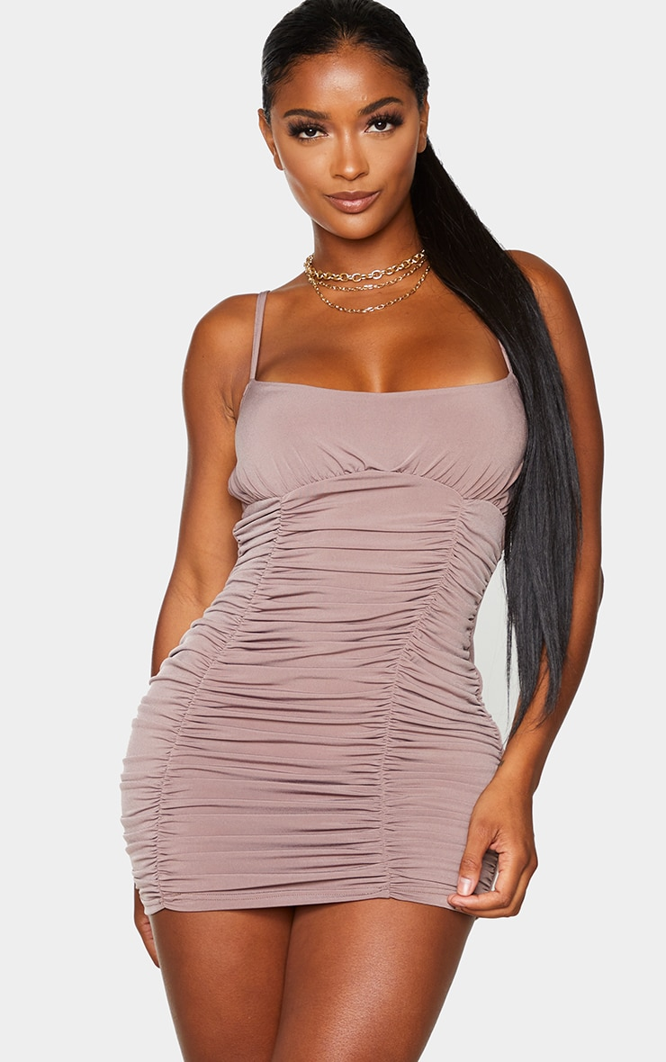 Shape Mocha Slinky Extreme Ruched Bodycon Dress 1