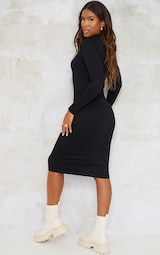 Black Structured Contour High Neck Midi Dress 2