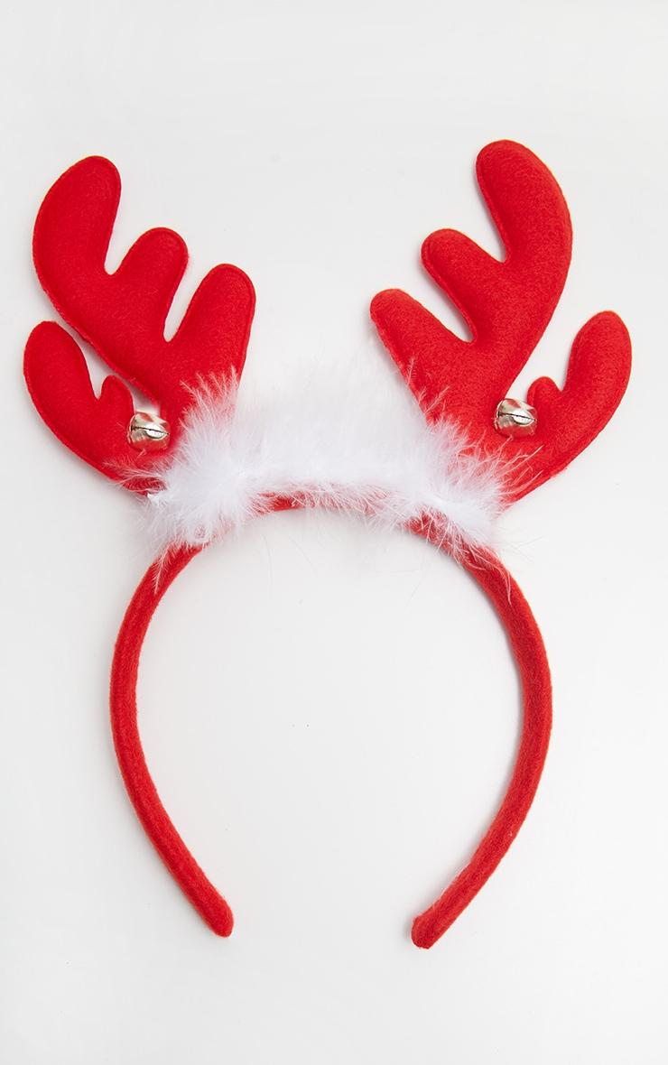 Red Reindeer Antlers Headband 2