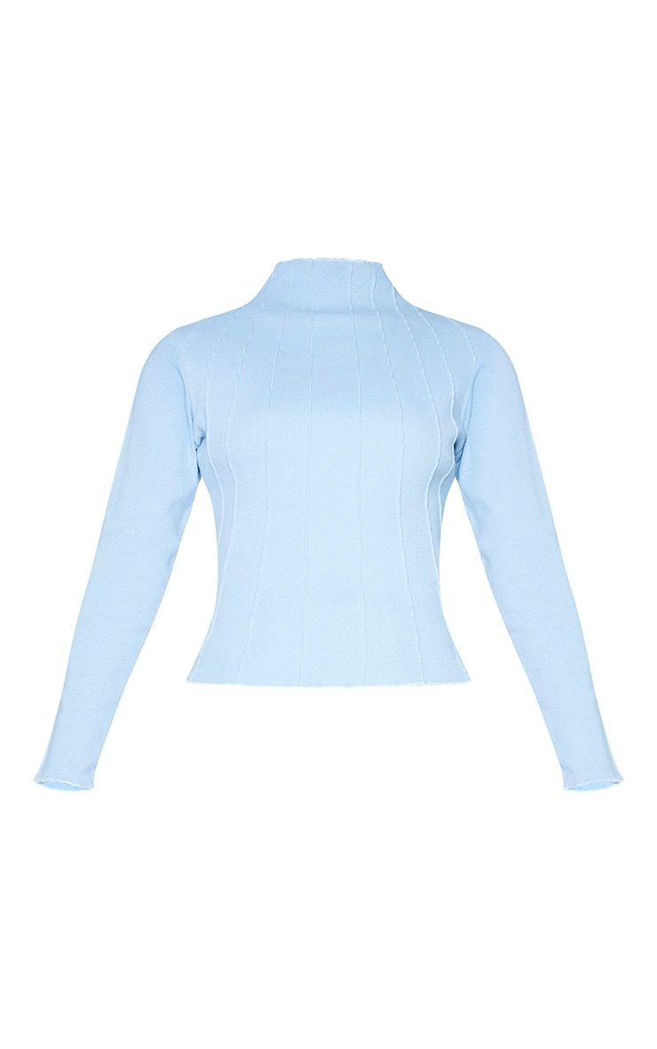 Dusty Blue Rib High Neck Exposed Seam Long Sleeve Top 5