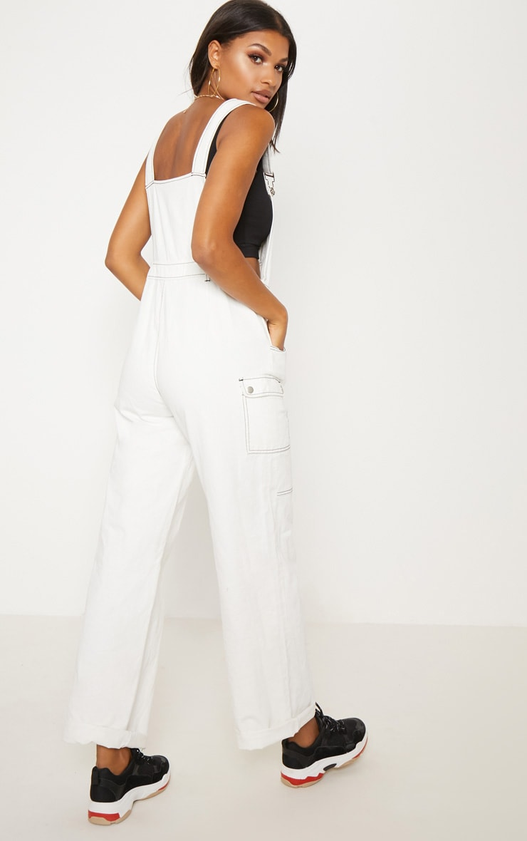 White Denim Wide Leg Dungarees 3