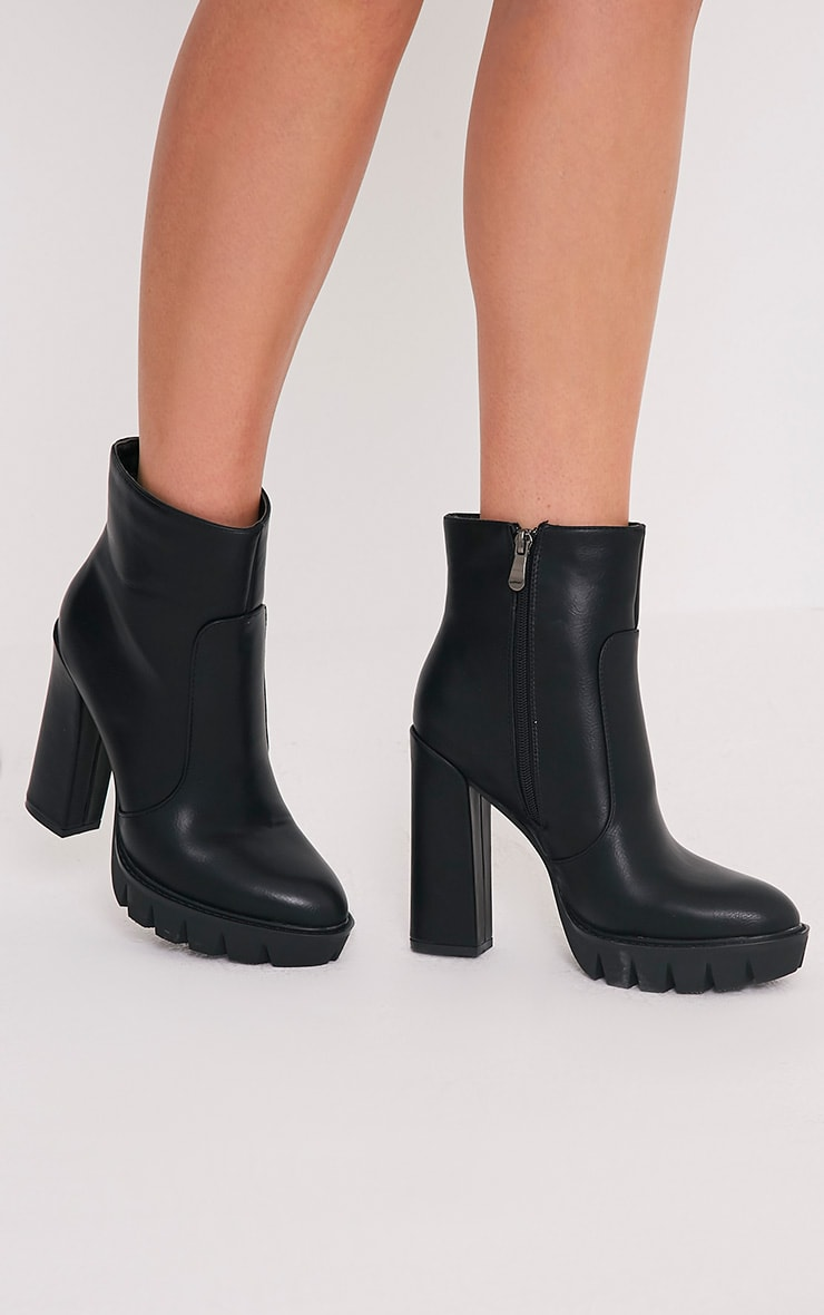 Ciel Black PU Cleated Sole Heeled Ankle Boots 1