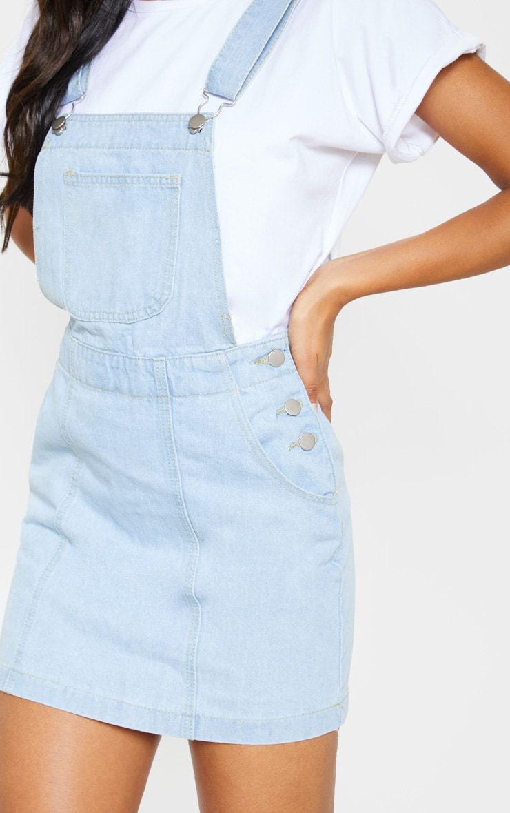 Light Wash Denim Dungaree Dress 5