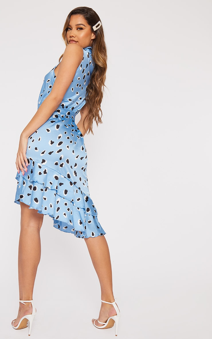 Blue Leopard Belted Asymmetric Frill Hem Midi Dress 2
