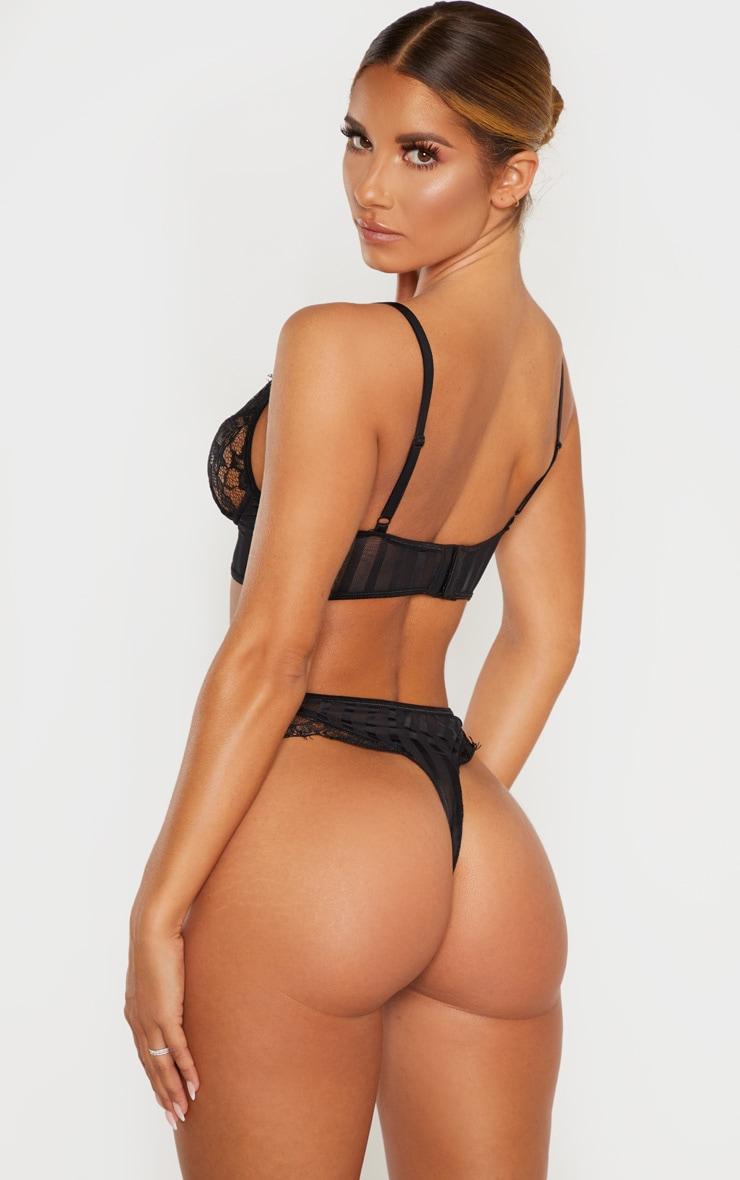 Black Striped Lace Bralette 3