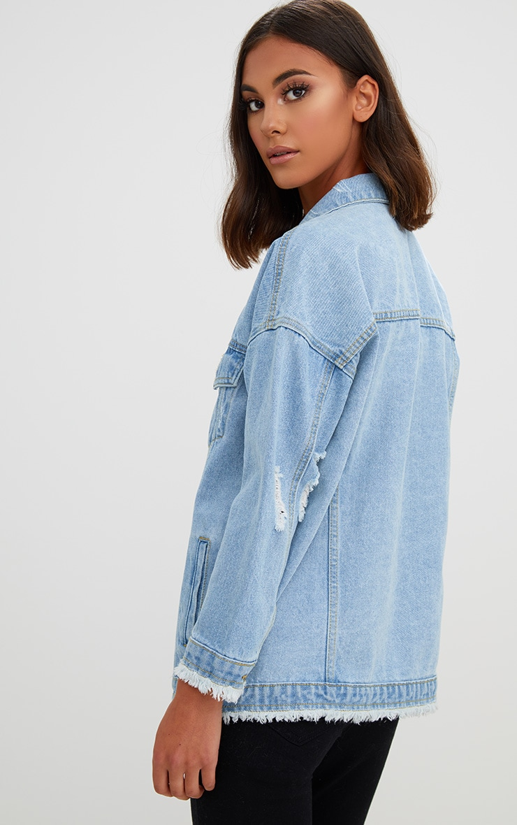 Aymeline Light Wash Distressed Oversized Denim Jacket 7