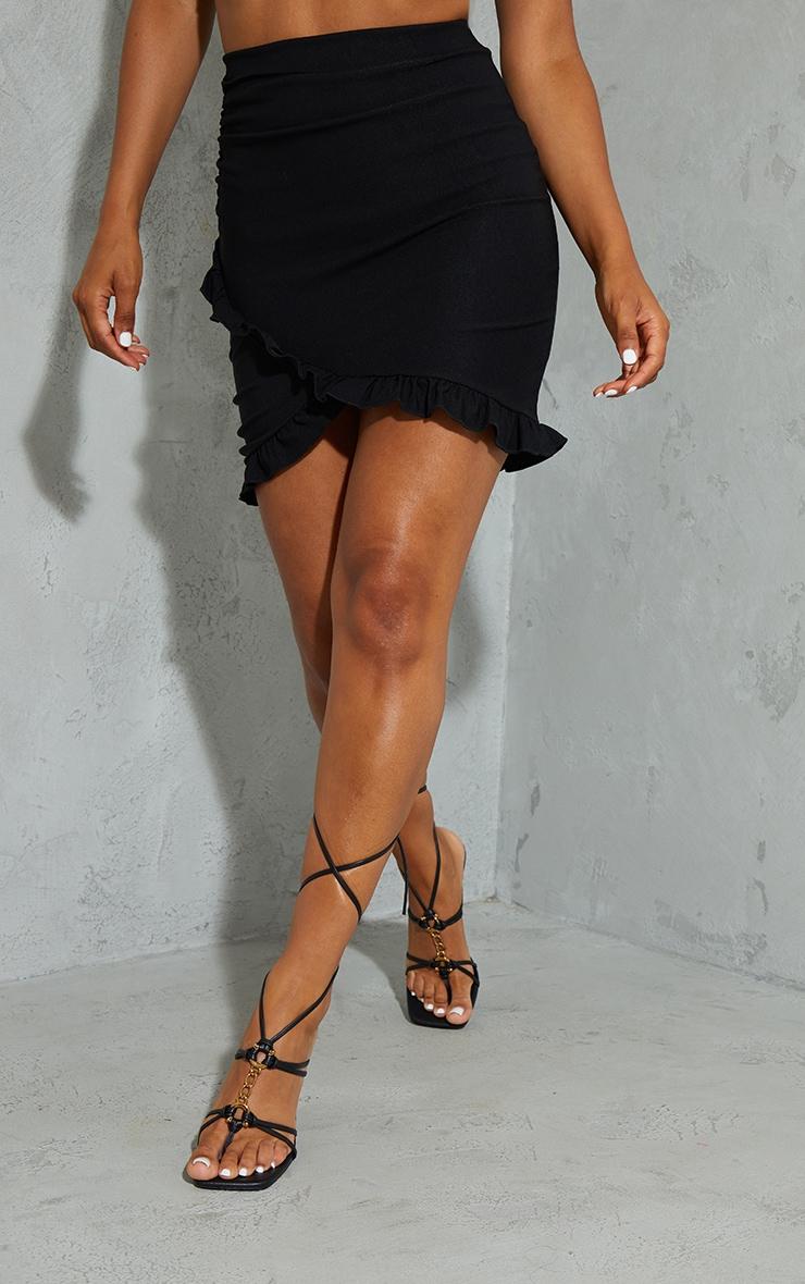 Black Woven Stretch Ruched Side Frill Hem Mini Skirt 2