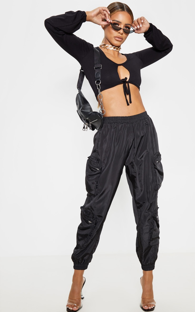 Petite Black Double Tie Long Sleeve Crop Top 4