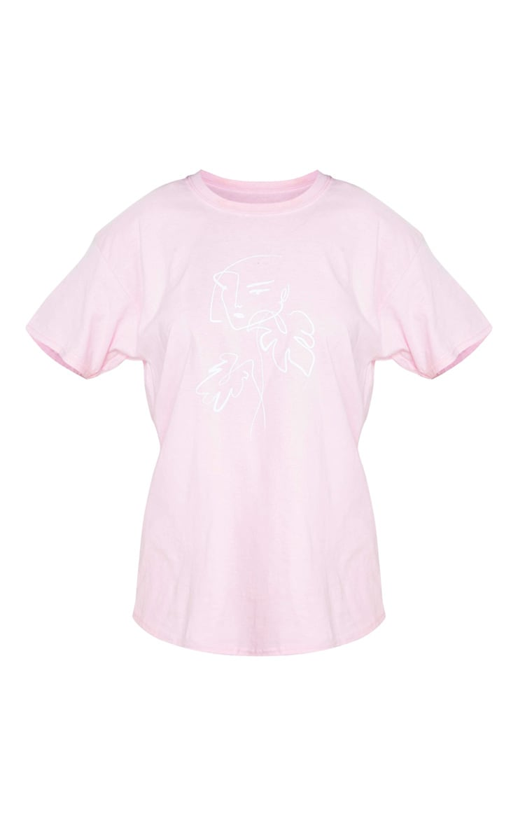 Pink Printed Abstract Face Oversized T Shirt 5