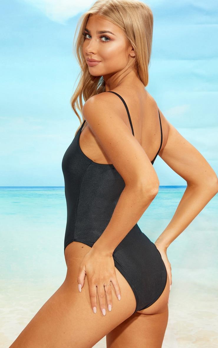 Black Straight Neck Swimsuit 2