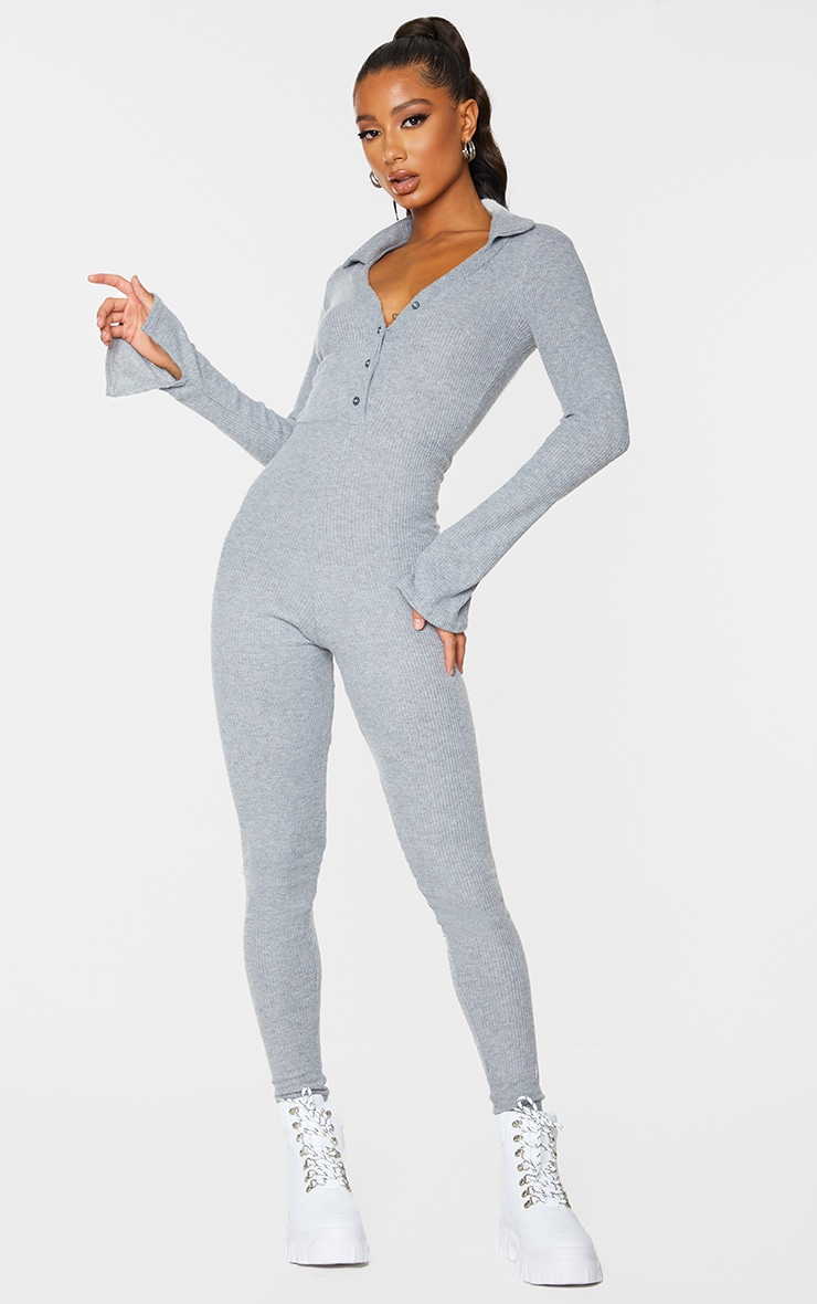 Grey Brushed Rib V Neck Shirt Jumpsuit 1