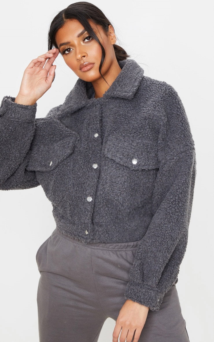 Charcoal Borg Cropped Trucker Jacket 4