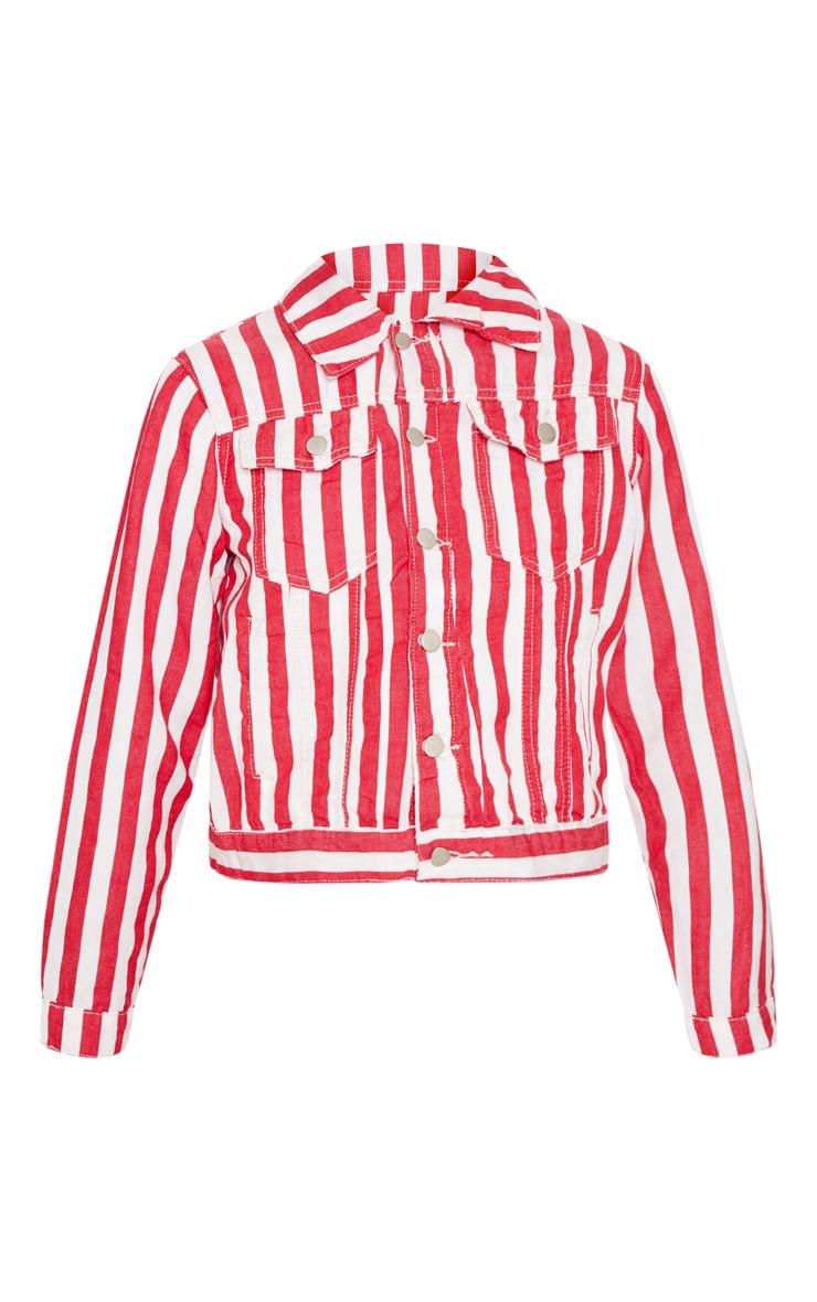 Red Striped Denim Jacket  3