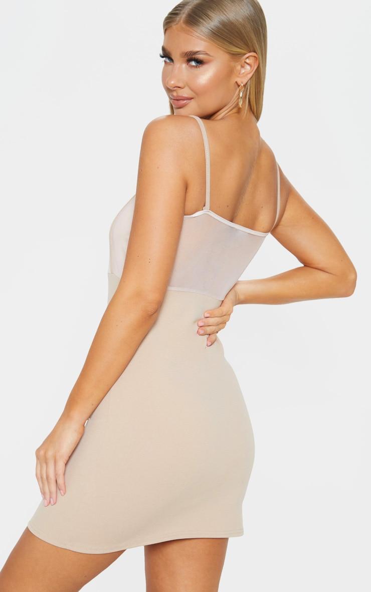 Stone Mesh Panelled Insert Bodycon Dress 2