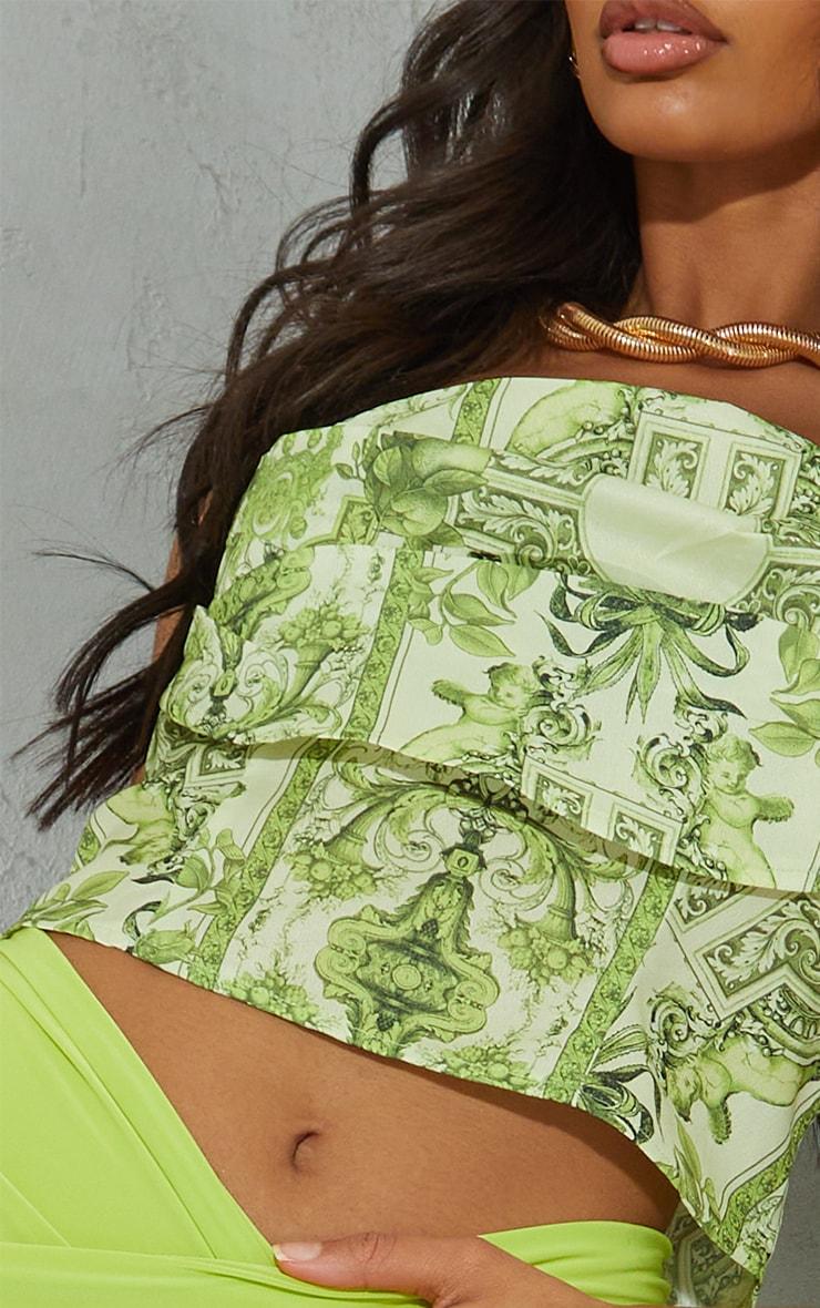 Lime Border Renaissance Print Woven Tiered Pleat Detail Corset 4