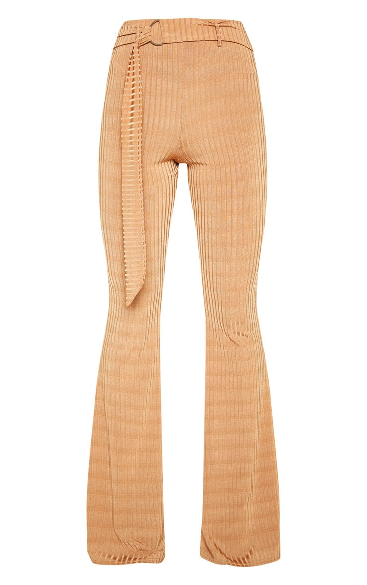 Tobacco Rib D Ring Belted Flare Leg Pant 3