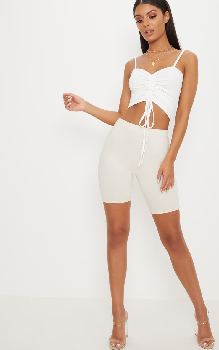 White Ruched Front Strappy Crop Top 4