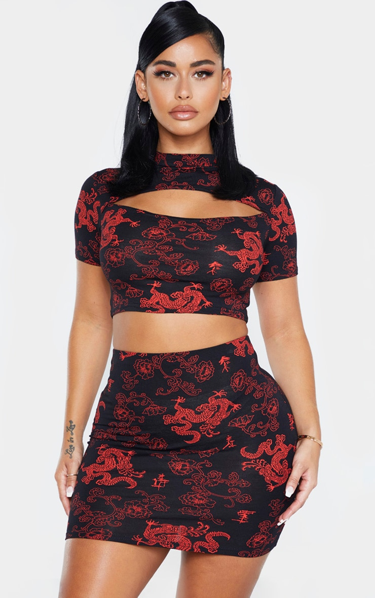 Shape Black Dragon Print Cut Out Crop Top 1