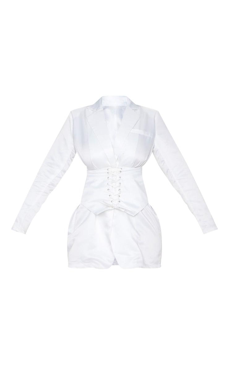 White Woven Corset Waist Blazer Dress 3