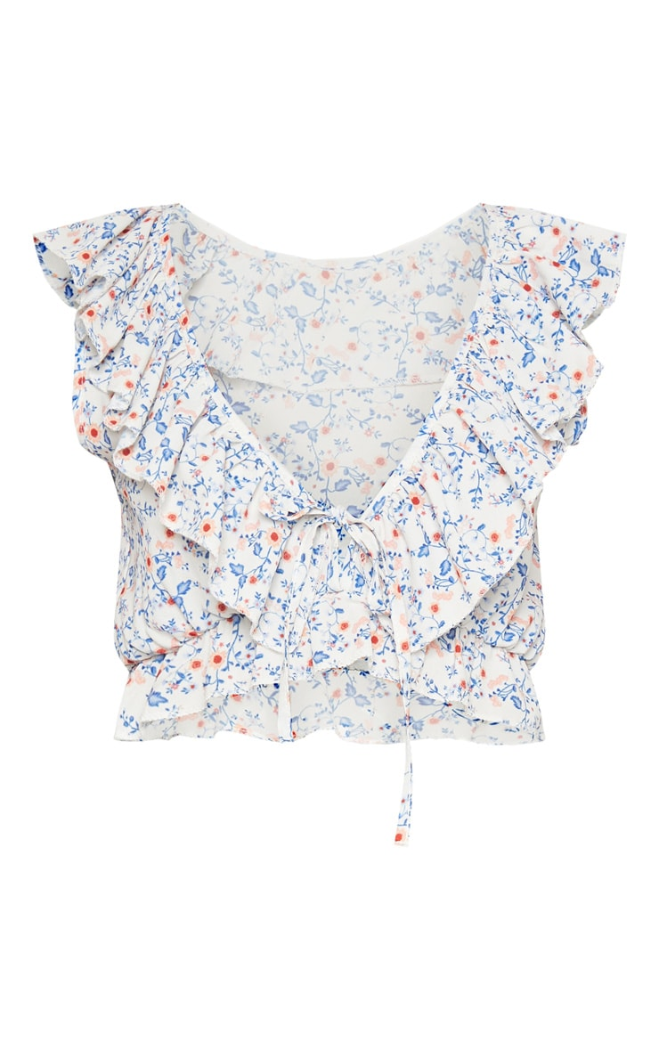 White Floral Printed Plunge Blouse 3