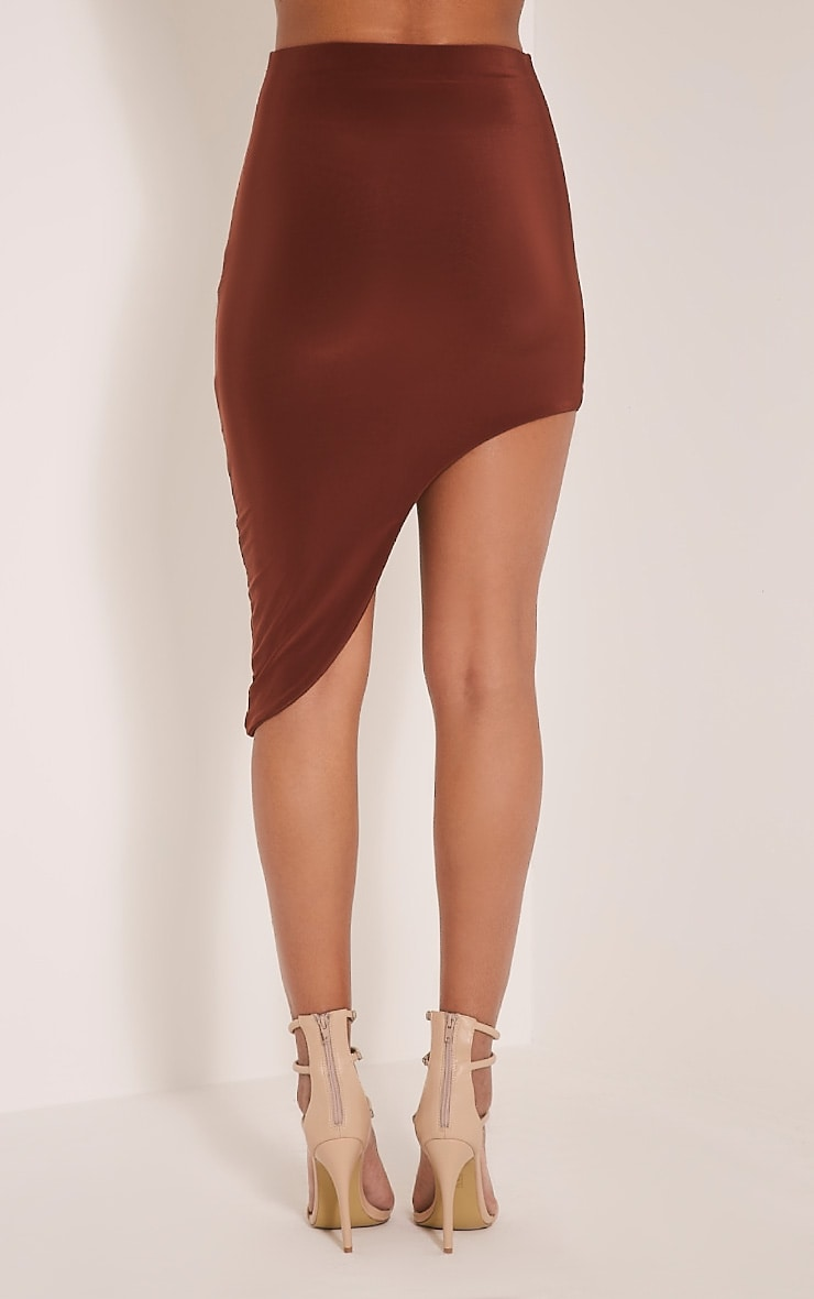 Marlee Coffee Curve Hem Midi Skirt 5