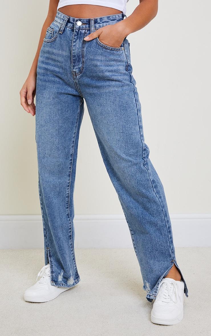Petite Mid Blue Wash Distressed Split Hem Straight Leg Jeans 2