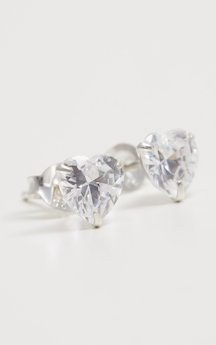 Sterling Silver Diamante Heart Studs 3