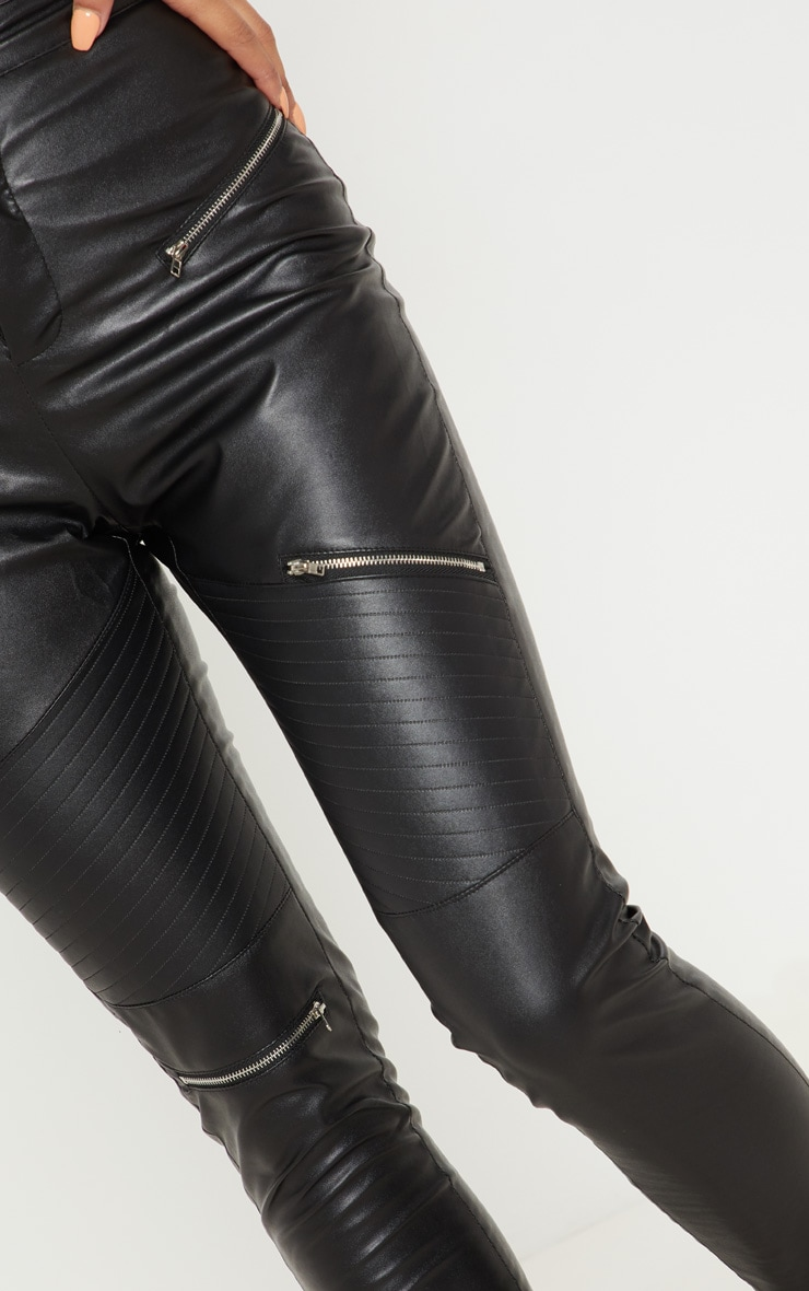 Black Faux Leather Biker Skinny Pants  5
