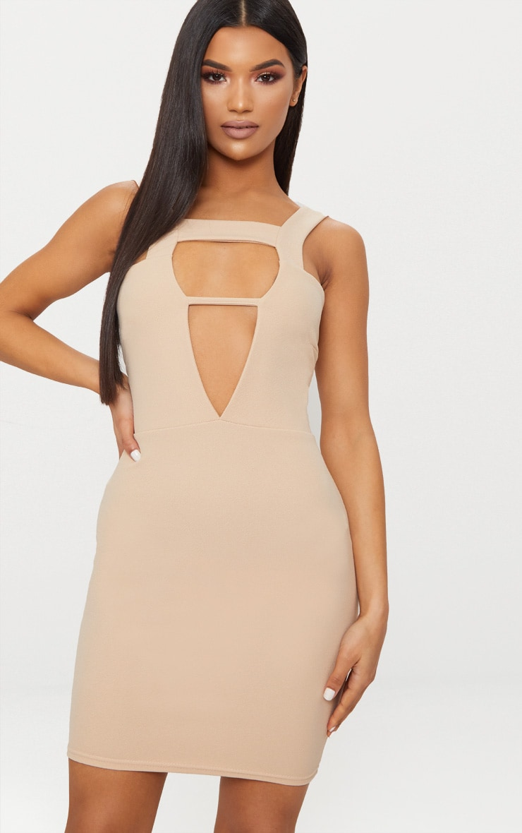 Stone Strap Detail Plunge Bodycon Dress 1