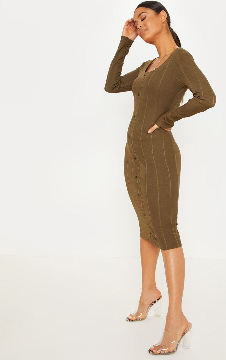 Khaki Wide Rib Button Front Midi Bodycon Dress 4