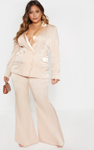 Plus Champagne Tailored Extreme Flared Trouser
