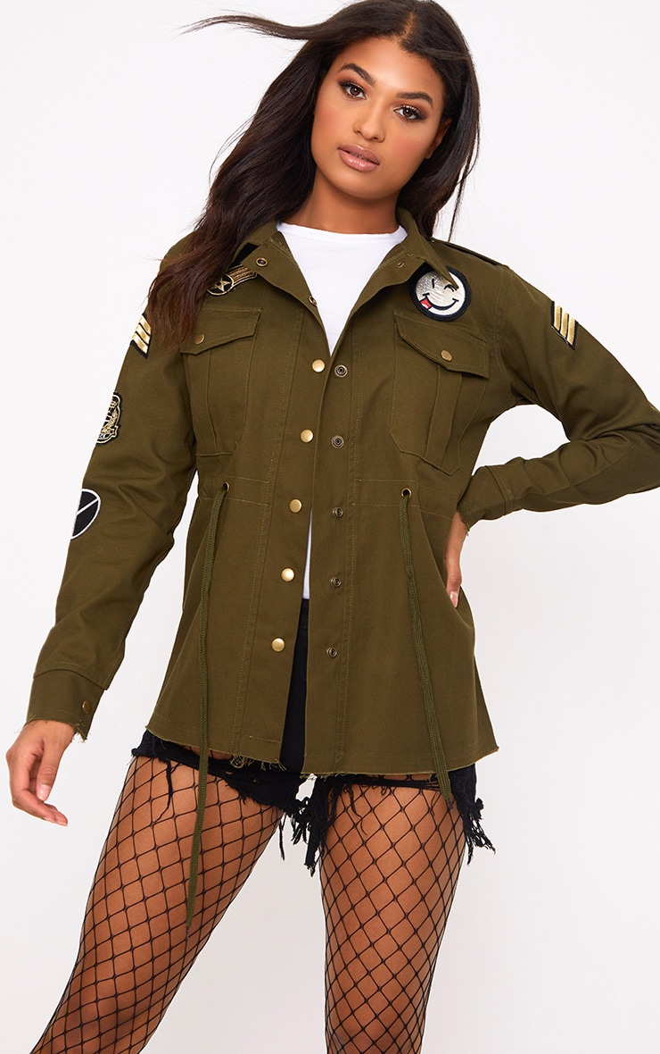 Khaki Badge Detail Utility Jacket 1