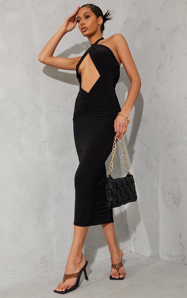 Black Slinky Cross Halterneck Cut Out Midaxi Dress 1