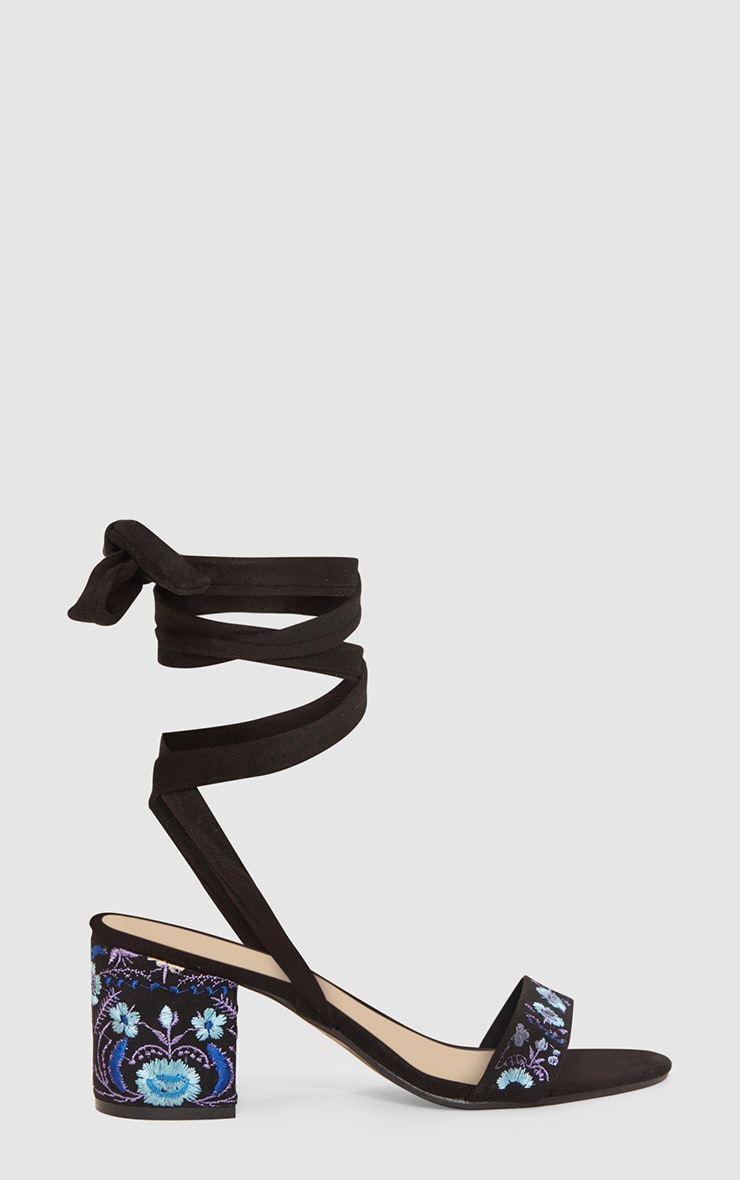 Black Embroidered Lace Up Block Heeled Sandals 3