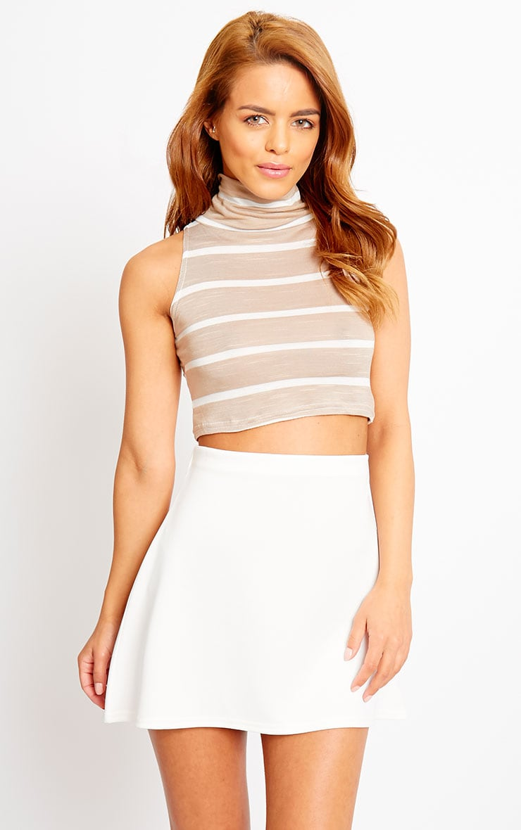 Sal Stone Turtle Neck Stripe Crop Top 1