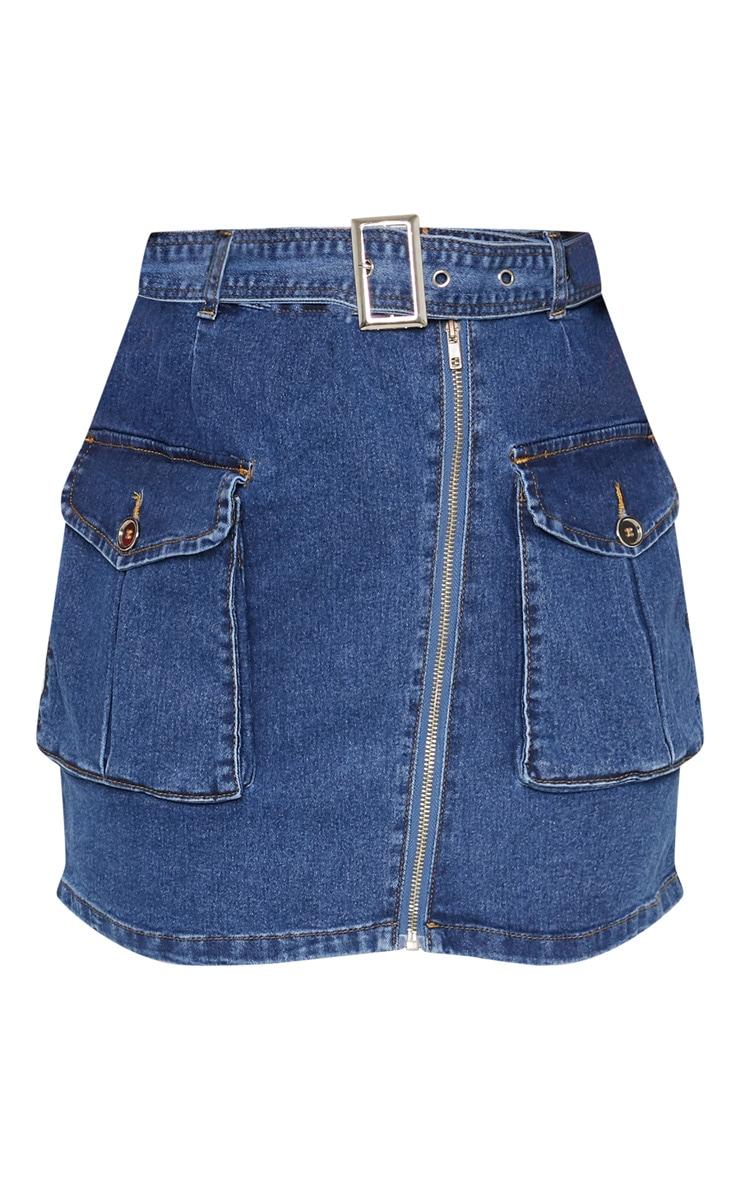 Mid Wash Cargo Pocket Belted Denim Skirt  3
