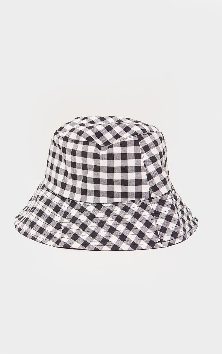 Black Gingham Check Reversible Bucket Hat 2