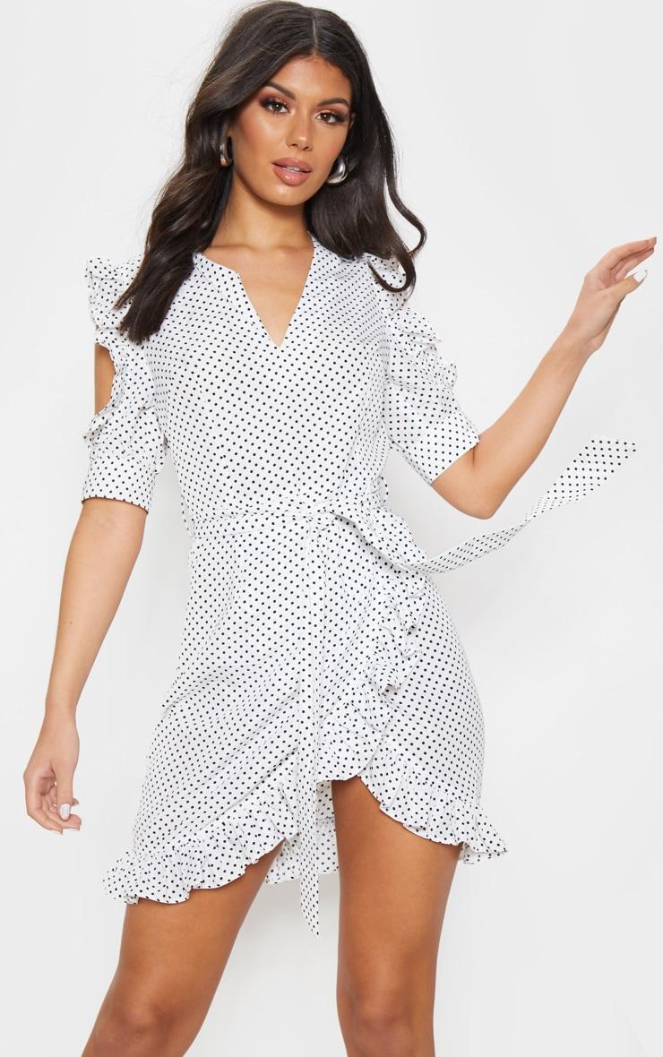 White Polka Dot Cold Shoulder Frill Tie Shift Dress 1