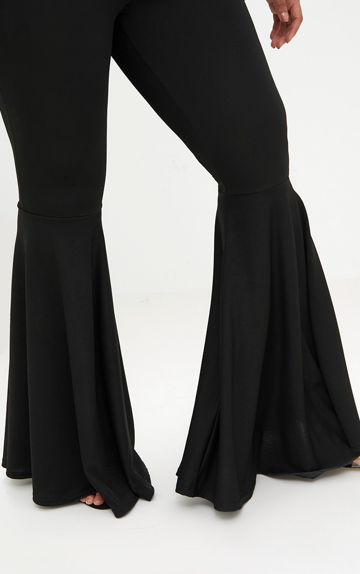 Plus Black Fit and Flare Leg Trousers 5