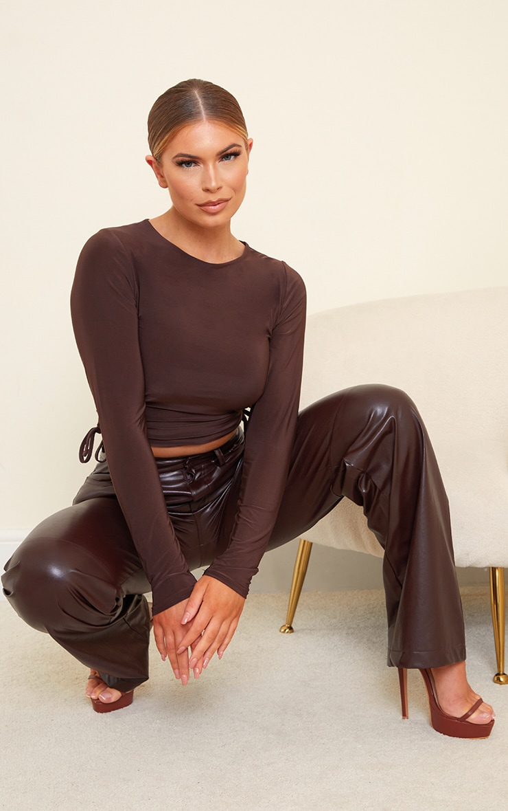 Chocolate Slinky Ruched Side Long Sleeve Top 3